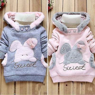 Girls Kids Rabbit Hoodies Jacket Jumper Coat Outwear Autumn Winter Clothes 1-6Y