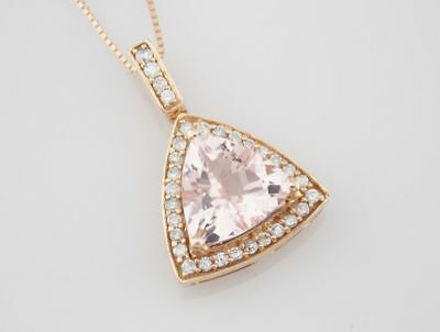 Morganite Diamond Halo Pendant Necklace Wrapped in 14k Yellow Gold Plated Silver