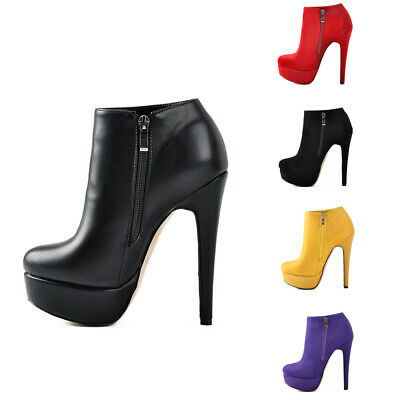 54ff769039 Onlymaker Women's Platform Zipper Ankle Booties Pointed Toe Sexy Stiletto  Boots