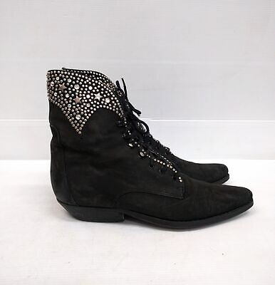 Size 40 Vintage Ladies Black ROCK GRUNGE Western Lace up leather ankle boots