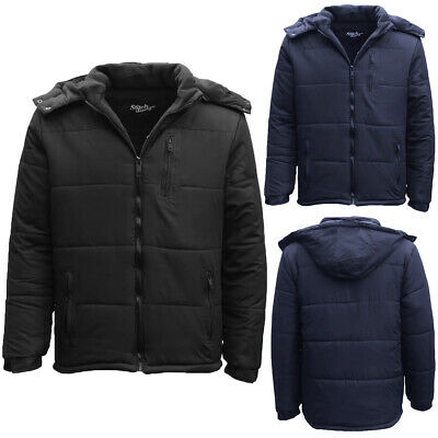 Men's Thick Water Resistant Puffy Puffer Hooded Hoodie Jacket Warm Quilted Coat