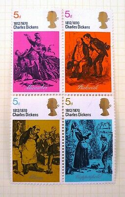 GB Stamps 1970 5D Royal Mail Block of 4 Stamp Set - Charles Dickens
