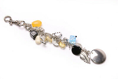 Stunning Long Silver Colour Chain Key Ring w Dices,Beads&Metal Ornaments (T526)
