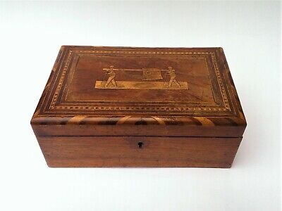 Antique Madeira Work Sewing Box Funchal 19th Century Walnut Marquetry Treen