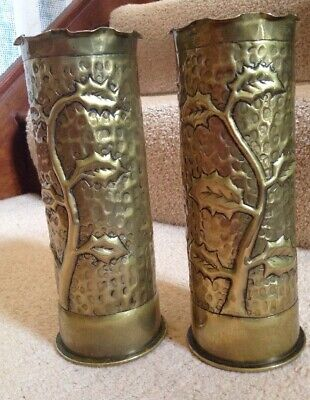 Pair Ww1 Trench Art Case Vase Holly Leaves Art Nouveau War One Castellated Tops