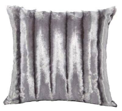 Grey / Silver Faux Mink Fur Faux Fur Large 22 Inch Super Soft Cushion Cover