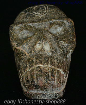 Ancient Chinese Hongshan Culture Stone Hand Carved Old Runes Skull-Faced Cranium