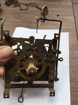 Antique Black Forest Musical Cuckoo Clock Movement For Parts Or Restoration