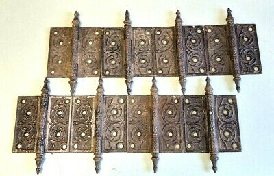 Lot of 8 Antique Eastlake Ornate 4x4 Hinges, Steeple Tops