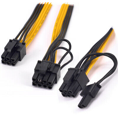 PCI-e GPU 6Pin to Dual 6+2pin Power supply Extension Cable 1 to 2 port 8Pin16AWG