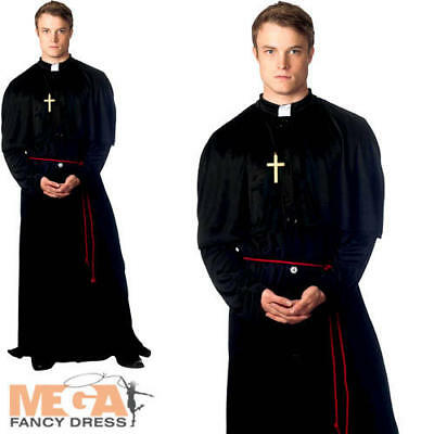 Holy-er Than Thou Priest Vicar Mens Halloween Fancy Dress Costume Adult Outfit