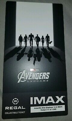 AVENGERS ENDGAME IMAX Regal Collectible Ticket Week 2