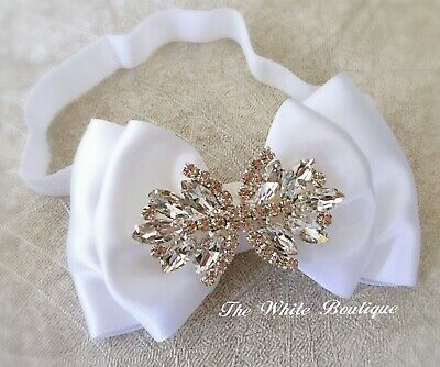 Baby Girl White Christening Headband Baptist Hair Band Satin Bow Rhinestones
