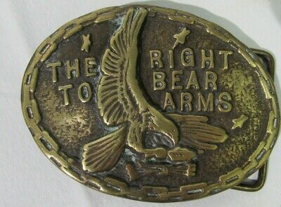 Vintage Belt Buckle 2nd Second Amendment Right to Bear Arms Eagle Gun BrassUSA