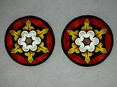 Beautiful Stained glass.FLOWERS.Hand painted.Kiln fired.Diameter100mm.Antiq st.