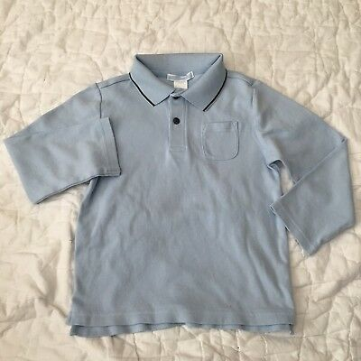 Janie & Jack Toddler Boy Blue Collar Long Sleeve Basic Pocket Button Shirt 4