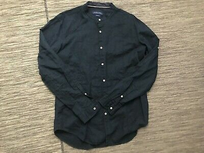 f904bb41 Zara Man XL Slim Fit Button Up Shirt Granddad Stand Collar Blue Linen Blend