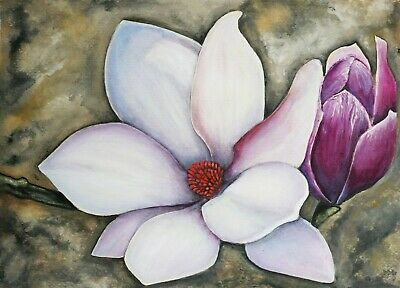 Original Magnolia Watercolour and Acrylic Painting in A3 Signed by Artist