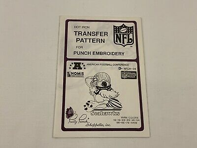 Pretty Punch NFLH-08 SEAHAWKS Hot Iron Transfer Pattern Punch Embroidery