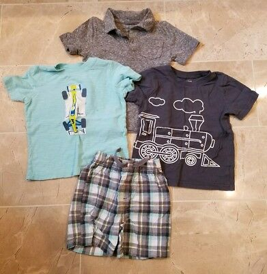 Jumping Beans Boys 24 Month polo, tee, cars, trains Short Outfit