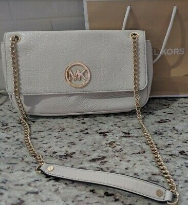 2b82a0cb60905e Michael Kors White, Light Cream Ecru Pebbled Leather Clutch Tote, WORN ONCE!