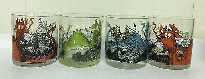 Dragon Viking Glasses Drinking 4 Set Lowball Colorful GOT Man Cave Whiskey Cups