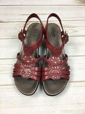 9d72cb89b9941 CLARKS SANDALS WOMEN'S Size 9 Red Leather Sandals Summer - $15.00 ...
