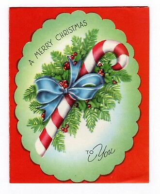 Vintage Christmas Greeting Card Candy Cane