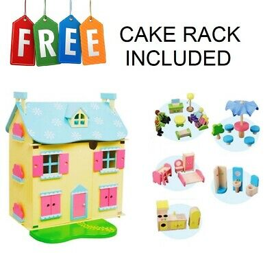 New Wooden Dollhouse With Garden ,Furniture And 4 Dolls **Plus Free Cake Rack**