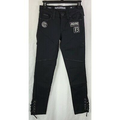 Affliction Raquel Brooklyn 111SK073  DPSR Black Skinny Cut Denim Jeans For Women