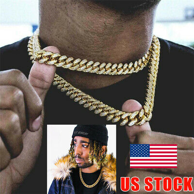 Hip Hop Men Quavo Gold Iced Out 15mm 20'' Miami Cuban Choker Chain Necklace