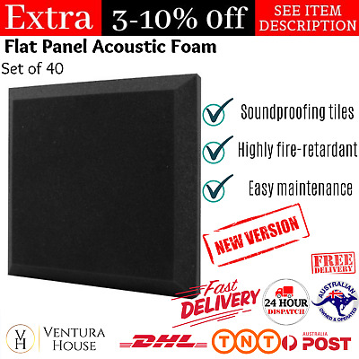 Set of 40 Flat Panel Acoustic Soundproof Sound Absorbing Foam Noise Cancelling