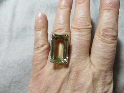 Art Deco 30's 925 Sterling Japan Large Faceted Citrine Stone Cocktail Ring s 6