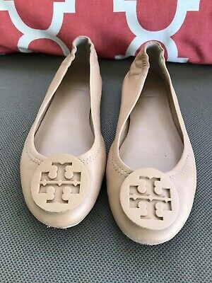 9a2741136e Tory Burch 'Reva' Ballerina Flat Shoes Flesh Nude Beige Neutral Logo Size  5.5