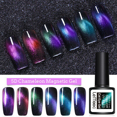 LEMOOC 5D Cat Eye UV Gel Polish Shimmer Chameleon Soak Off Gel Nail Varnish 8ml