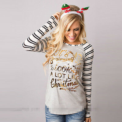 Women Ladies Long Sleeve Christmas Xmas Striped T-shirt Sweatshirt Pullover Tops