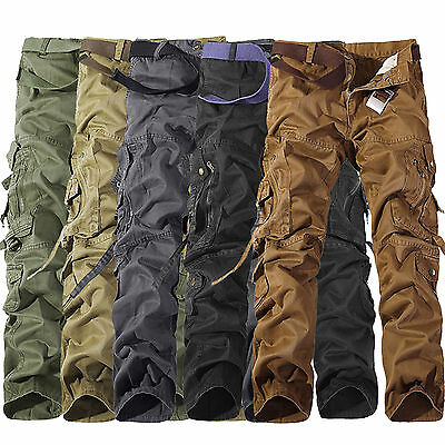 Mens Camouflage Cotton Cargo Combat Army Pants Military Hiking Casual Trousers