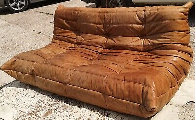 Vintage 3 Seater Ligne Roset Togo Leather Sofa In Washed Tan By Michel Ducaroy