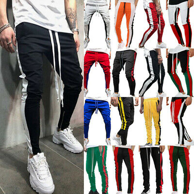 Mens Track Pants Skinny Casual Sports Jogging Joggers Gym Sweatpants Trousers