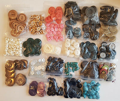 Bulk Buttons older style vintage x26 bags 900g weight pink green brown cream