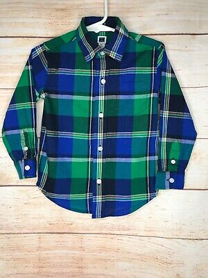 Janie And Jack Boys Blue And Green Plaid Button Up Long Sleeve Shirt Size 2T
