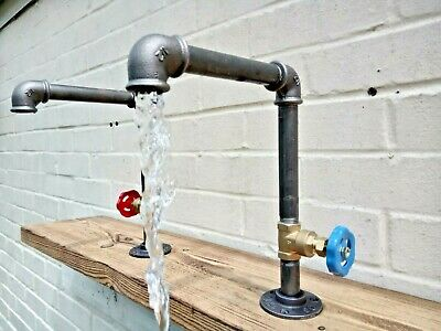 Pair Of Old Cast Iron Taps - Rustic / Industrial - Kitchen / Bathroom Taps