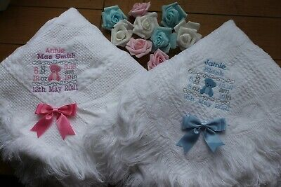 Baby shawl blanket  plain or embroidered personalised minnie mouse font design