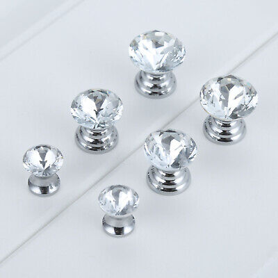 5X Mini Knob Fashion Clear Crystal Jewelry Gift Box Drawer Cabinet Pull Handle