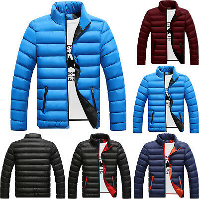 Mens Lightweight Quilted Cotton Down Jacket Coat Padded Puffer Ski Parka Outwear