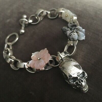 CORPUS CHRISTI PARIS ~ Solid Silver Scull/Mother Of Pearl Floral Chain Bracelet
