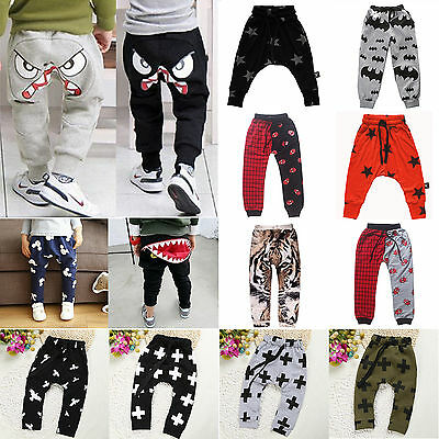 Toddler Kids Boys Girls Harem Pants Casual Cotton Leggings Baggy Trousers 0-7Y