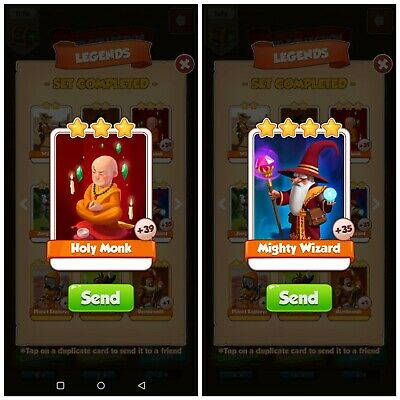 Coin Master Cards Holy Monk +Mighty Wizard *Fast Delivery*