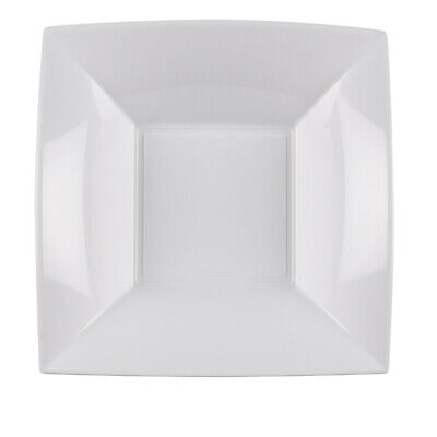 Eco-Friendly Reusable Plastic Party Plates Dish Bowl Catering White 18cm 25 Pack