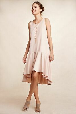 New Anthropologie Rose Camellia Dropwaist High Low Dress By Maeve Sz S Small